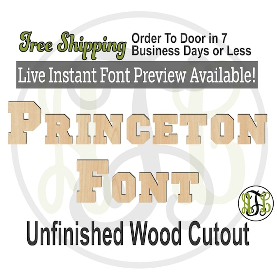 Princeton Font Name / Word / Phrase- Block Alphabet Cutout, unfinished, wood cutout, laser cut wood, wood cut out, Live Font Preview