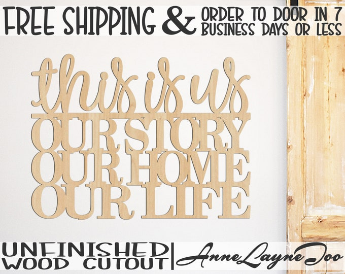 this is us Wood Cutout, Wooden cut out Sign, Our Life Sign, Family wooden sign, Photo Wall Sign, unfinished, wood cut out, laser cut -325113