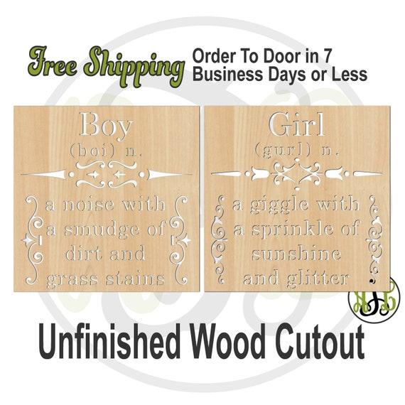 Boy dirt or Girl sunshine -325128-29- Nurery Cutout, unfinished, wood cutout, laser cut, wood cut out, Door Hanger, wooden sign, Baby Shower