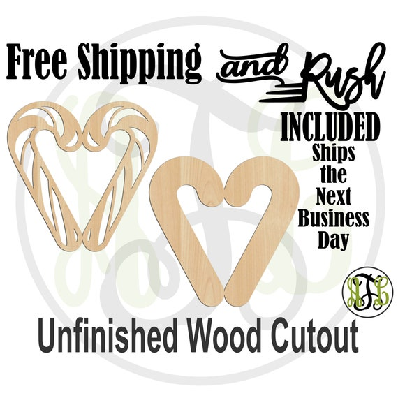 Candy Cane Heart Striped or Solid- 180500-01- Christmas Cutout, unfinished, wood cutout,  laser wood cutout - RUSH PRODUCTION