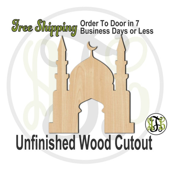 Mosque- 300107- Religious Cutout, unfinished, wood cutout, wood craft, laser cut shape, wood cut out, Door Hanger, wooden, ready to paint