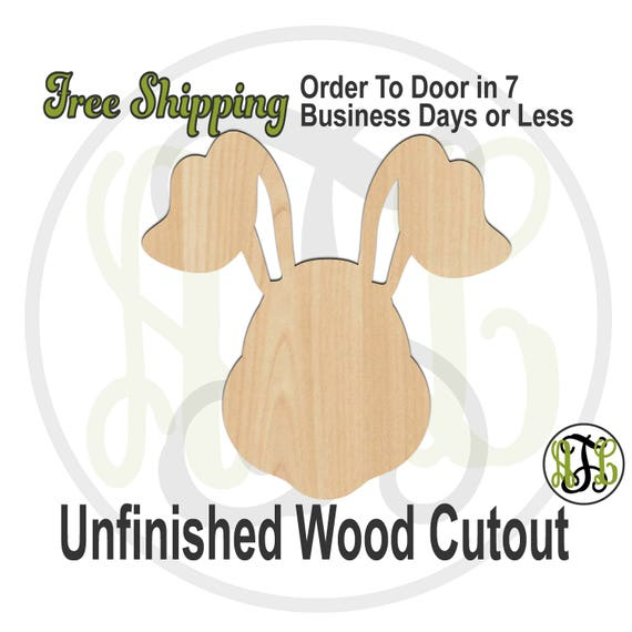 Bunny Head with Floppy Ears - 140009 - Easter Cutout, unfinished, wood cutout, laser cut wood, wood cut out, Door Hanger, wooden, wall art