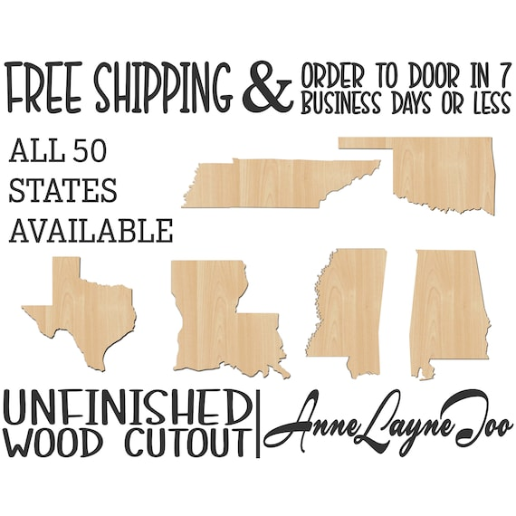 State Wood Cutout, 50 State Shapes, Wooden State Guest Book, State Door Hanger, United States, laser cut, unfinished wood cutout - 270001-50