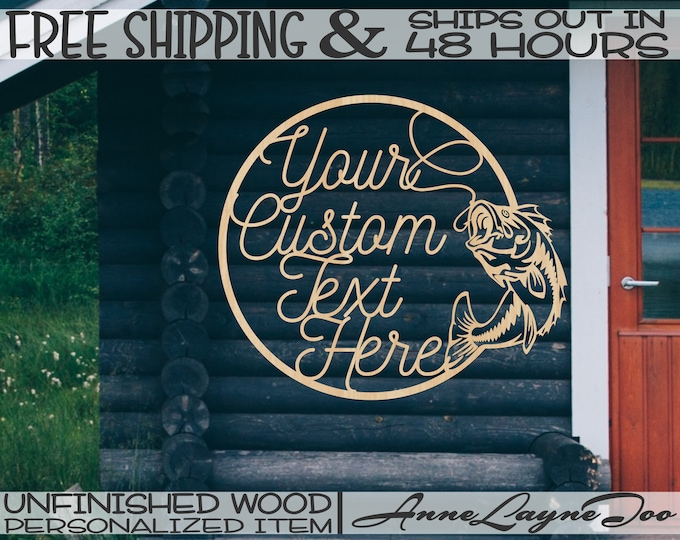 Fish Line and Hook Wood Sign, Fishing Cut Out, Wooden Fishing Camp Sign, unfinished, wood cut out, laser cut, Ships in 48 HOURS -990077