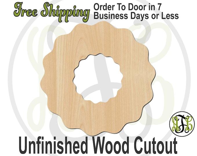 Wreath - 180300- Christmas Cutout, unfinished, wood cutout, wood craft, laser cut shape, wood cut out, Door Hanger, wood shape, Holiday