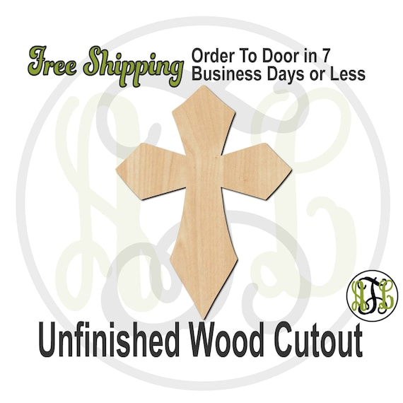 Cross 4- 290035- ReligiousCutout, unfinished, wood cutout, wood craft, laser cut shape, wood cut out, Door Hanger, wooden, ready to paint