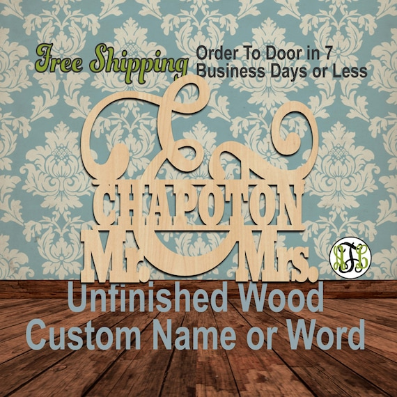 Mr. and Mrs. Name Plate 1- 320101- Personalized Cutout, unfinished, wood cutout, wood craft, laser cut wood, wood cut out, Wedding, wooden