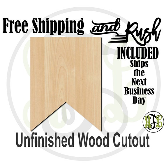 Plaque Flag Banner - 40034- Cutout, unfinished, wood cutout,  laser cut shape, DIY, Free Shipping - RUSH PRODUCTION