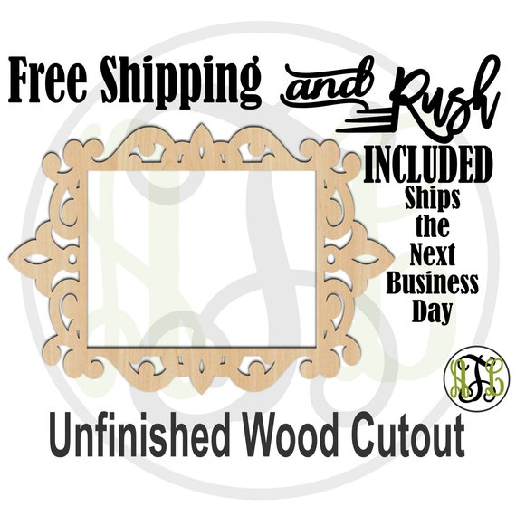 Ornate Frame - 360002- Empty Frame Cutout, unfinished, wood cutout,  laser cut shape, DIY, Free Shipping - RUSH PRODUCTION