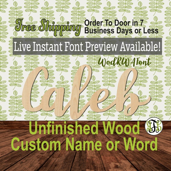 Custom Wood Name Sign, WodRWA Font, Cursive, Connected, wood cut out, wood cutout, wooden, Nursery, Wedding, Birthday, word sign, Script