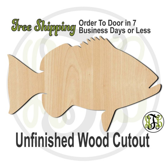 Red Snapper - 230069- Fish Cutout, unfinished, wood cutout, wood craft, laser cut shape, wood cut out, Door Hanger, wooden, wall art