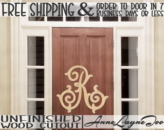 FatsyAl Letters A-Z - Monogram Cutout, Initial, unfinished, wood craft, laser cut wood, wood cut out, Door Hanger, Family Initial