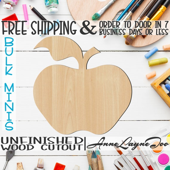 "Apple- 2"" to 6"" Minis, Small Wood Cutout, unfinished, wood cutout, wood craft, laser cut shape, wood cut out, ornament -28002"