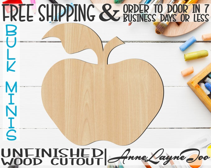 """Apple- 2"""" to 6"""" Minis, Small Wood Cutout, unfinished, wood cutout, wood craft, laser cut shape, wood cut out, ornament -28002"""