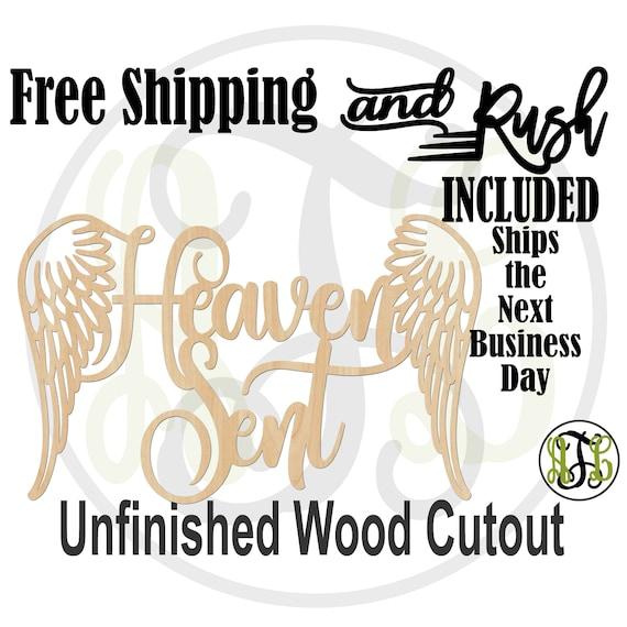 Heaven Sent Wood Sign, Baby Shower Sign, Nursery Door Hanger, Gender Reveal, unfinished, wood cut out, laser cut -321012- RUSH PRODUCTION