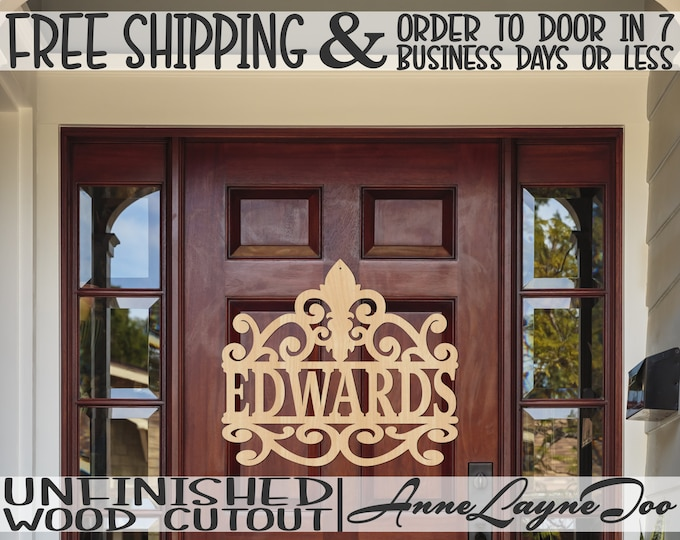 Fleur de Lis Scroll Wood Name Plate Cutout, Family Name Cutout, Wedding Sign, Wooden Sign, unfinished, wood cut out, laser cut -990004N