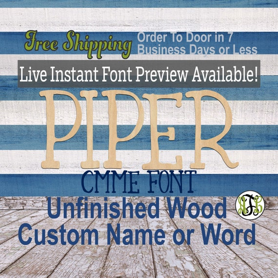 Cmme Font Name / Word / Phrase- Block Alphabet Cutout, unfinished, wood cutout, laser cut wood, wood cut out, wooden,  Live Font Preview