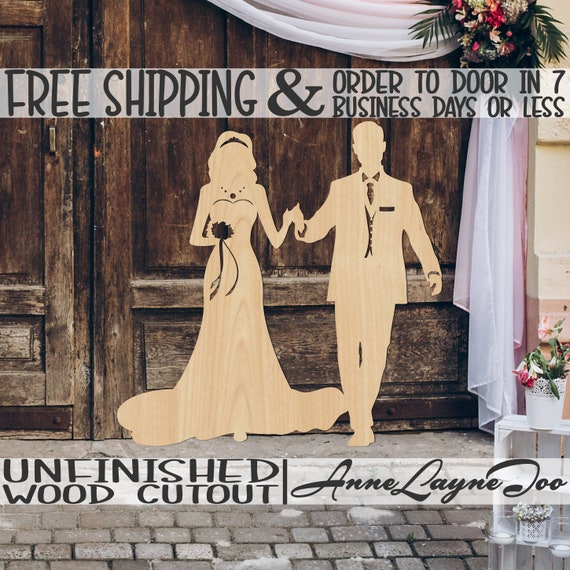 Bride and Groom Wedding Wooden Cutout, Wood Wedding Prop, Bridal Shower Cutout, wooden sign, unfinished, wood cut out, laser cut -260302