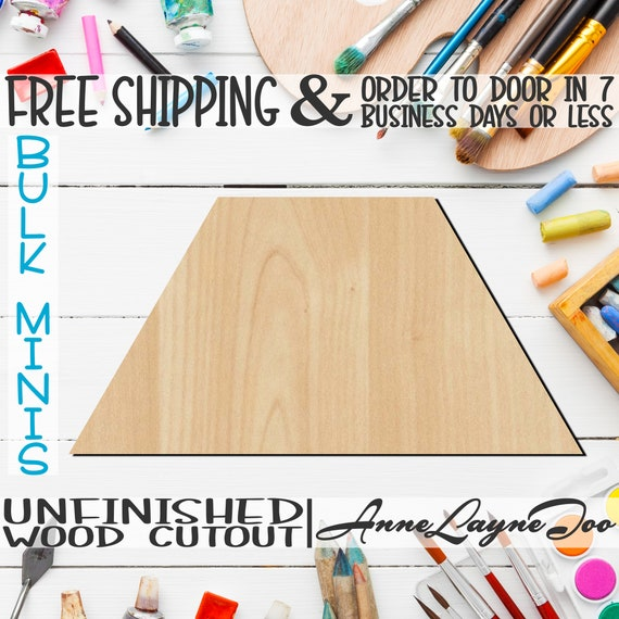 """Trapezoid- 2"""" to 6"""" Minis, Small Wood Cutout, unfinished, wood cutout, wood craft, laser cut shape, wood cut out, ornament -40047"""