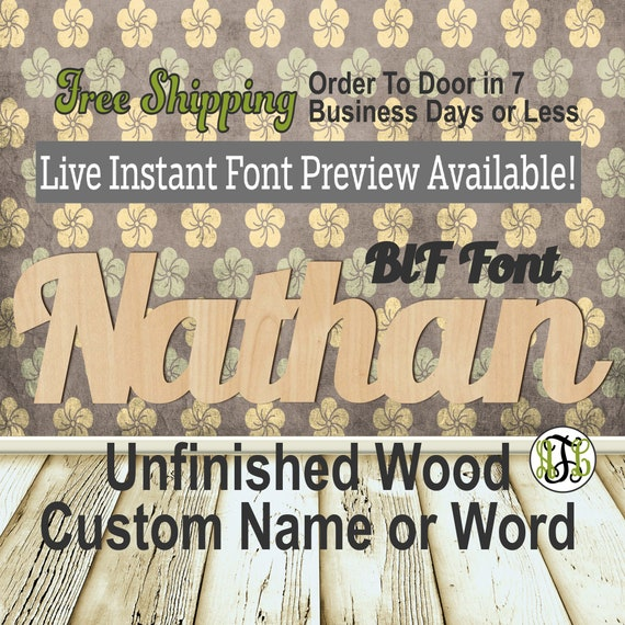 Custom Wood Name Sign, BlF Font, Cursive, Connected, wood cut out, wood cutout, wooden sign, Nursery, Wedding, Birthday, word sign