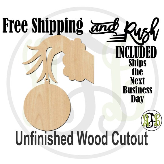 Hand Holding Ornament - 180097- Christmas Cutout, unfinished, wood cutout,  laser wood cutout, Door Hanger - RUSH PRODUCTION
