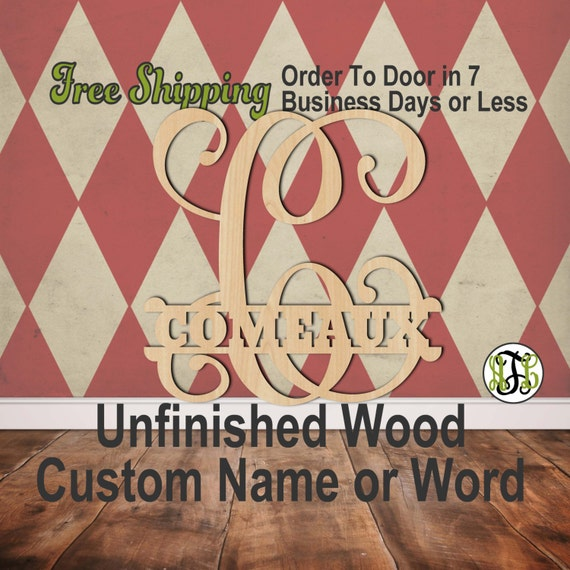 Vine Scroll Name Plate- Personalized Cutout, Initial, unfinished, wood cutout, wood craft, laser cut wood, wood cut out, wooden, Door Hanger