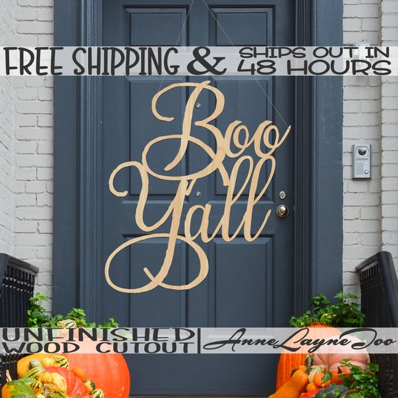 Boo Y'all Wood Sign, Halloween Decor, Halloween Door Sign Cutout, unfinished, wood cut out, laser cut, Ships in 48 HOURS -325196