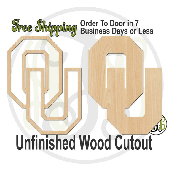 Interlocking O and U- 60204-205- Sport Cutout, unfinished, wood cutout, wood craft, laser cut, wood cut out, wooden, Door Hanger, University