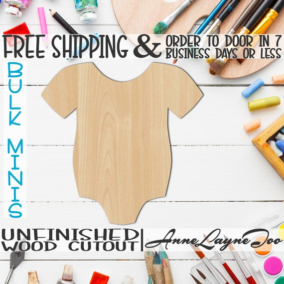 """Infant Body Suit, 1"""" to 6"""" Minis, Small Wood Cutout, unfinished, wood cutout, wood craft, laser cut, wood cut out, ornament -30003"""
