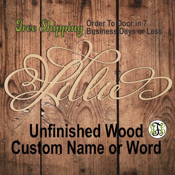 "3/8"" Thick BBP Unfinished Wood Custom Name in PmBSA Font, Script, Cursive, wooden name sign, laser cut wood out, Personalized, DIY"
