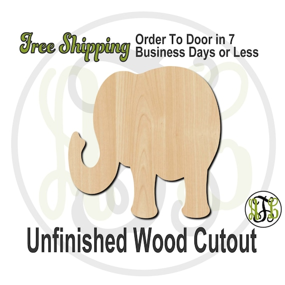 "Elephant 1- 2"" to 6"" Minis- 230003- Small Wood Cutout, unfinished, wood cutout, wood craft, laser cut, wood cut out, ornament"