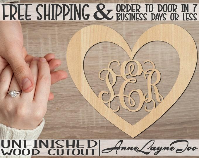 Heart Monogram Wood Cutout, Valentine Cutout, 3-Letter Monogram, wooden wedding initials, unfinished, wood cut out, laser cut -110034M3