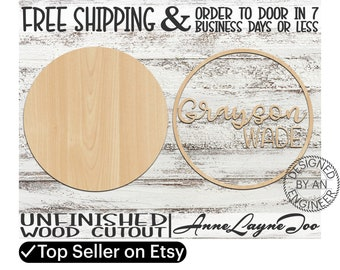 Two-Name Sign DIY Kit Circle Sign Cutout, unfinished wood cutout, Nursery Sign, laser cut, Nursery Wall Plaque, Girl Sign, Boy Sign - 460001