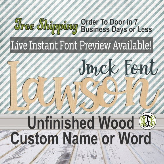 Custom Wood Name Sign, Jmck Font, Cursive, Connected, wood cut out, wood cutout, wooden, Nursery, Wedding, Birthday, word sign, Script