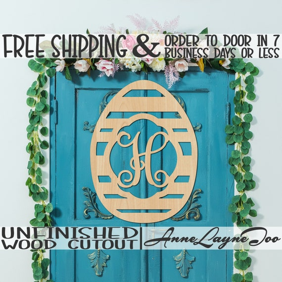 Striped Monogram Egg Wood Cutout, Easter Cutout, Egg Wooden Door Hanger, Striped Egg Wall Art, unfinished, wood cut out, laser cut -140025M1