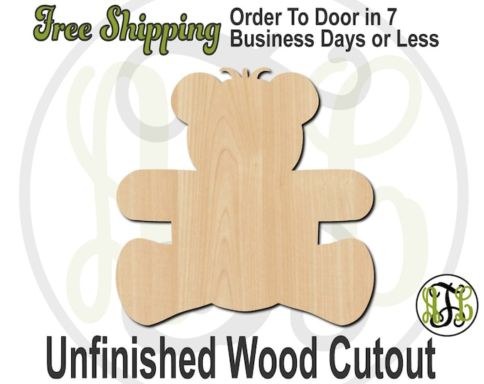 Teddy Bear - 30001- Cutout, unfinished, wood cutout, wood craft, laser cut shape, wood cut out, Door Hanger, wooden, wreath accent
