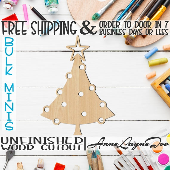 """Round Ornament Tree- 2"""" to 6"""" Minis, Small Wood Cutout, unfinished, wood cutout, wood craft, laser cut, wood cut out, ornament -180087"""