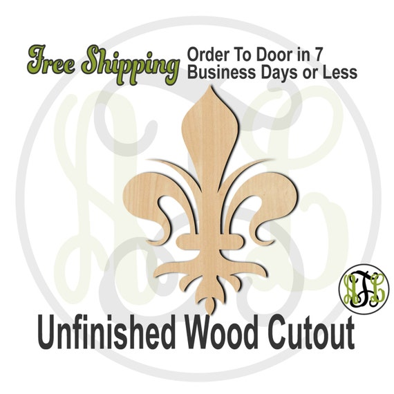 Fleur de Lis 21 - 300040- Cutout, unfinished, wood cutout, wood craft, laser cut shape, wood cut out, Door Hanger, wooden, ready to paint