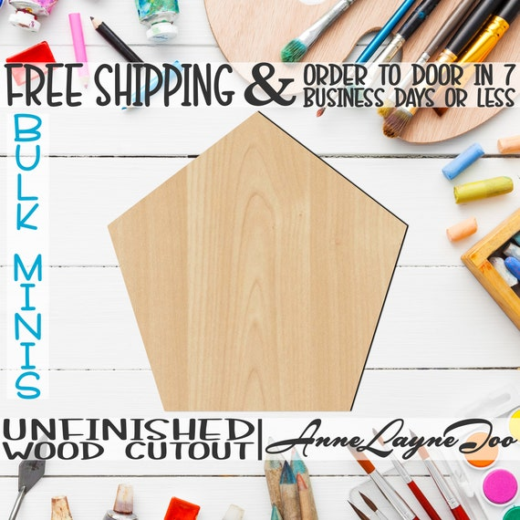 """Pentagon- 1"""" to 6"""" Minis, Small Wood Cutout, unfinished, wood cutout, wood craft, laser cut shape, wood cut out, ornament -40043"""