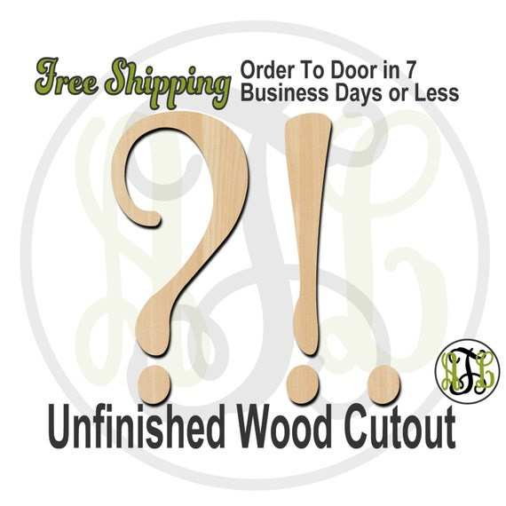 punctuation marks - 320224FrFt- Word Cutout, unfinished, wood cutout, wood craft, laser cut wood, wood cut out, Door Hanger, wooden sign