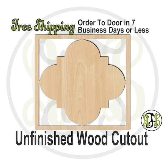 Framed Plaque Quatrefoil- 40049- Cutout, unfinished, wood cutout, wood craft, laser cut shape, wood cut out, DIY, Free Shipping