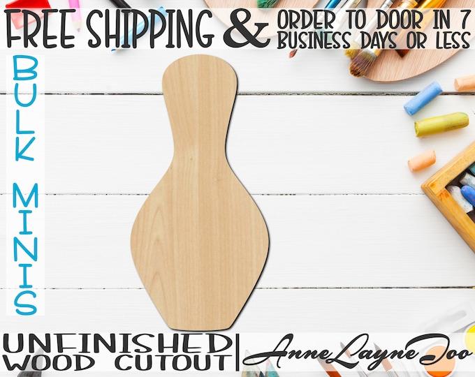 "Bowling Pin- 2"" to 6"" Minis, Small Wood Cutout, unfinished, wood cutout, wood craft, laser cut, wood cut out, ornament -60021"