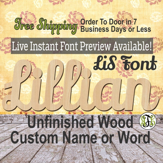 Custom Wood Name Sign, LiS Font, Cursive, Connected, wood cut out, wood cutout, wooden sign, Nursery, Wedding, Birthday, word sign