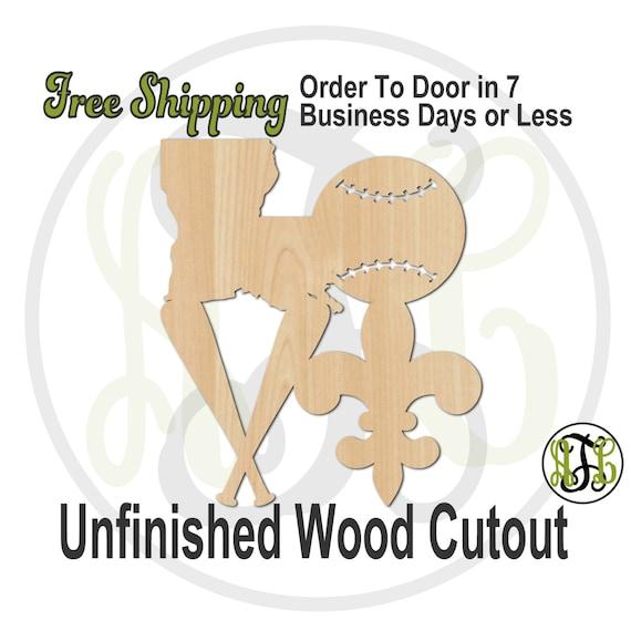 Louisiana Baseball Love- 60144- Cutout, unfinished, wood cutout, wood craft, laser cut shape, wood cut out, Door Hanger, wooden, wall art