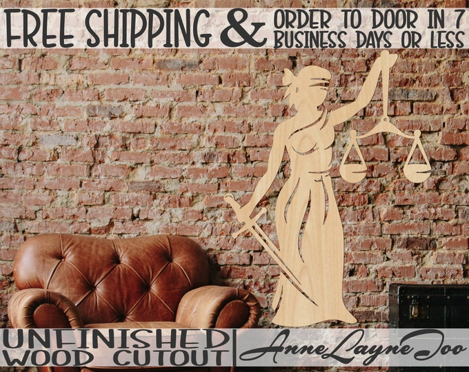 Lady Of Justice Wood Cutout, Legal Cutout, Wooden Legal Scales Wall Art, Law and Order Symbol, unfinished, wood cut out, laser cut -300216