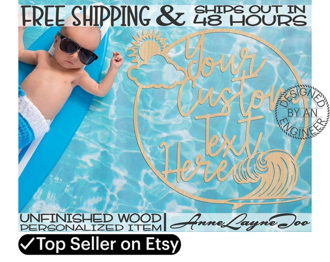 Custom Sun and Surfing Frame Wood Sign, Event Cut Out, Wooden Wedding Sign, unfinished, wood cut out, laser cut, Ships in 48 HOURS -990061