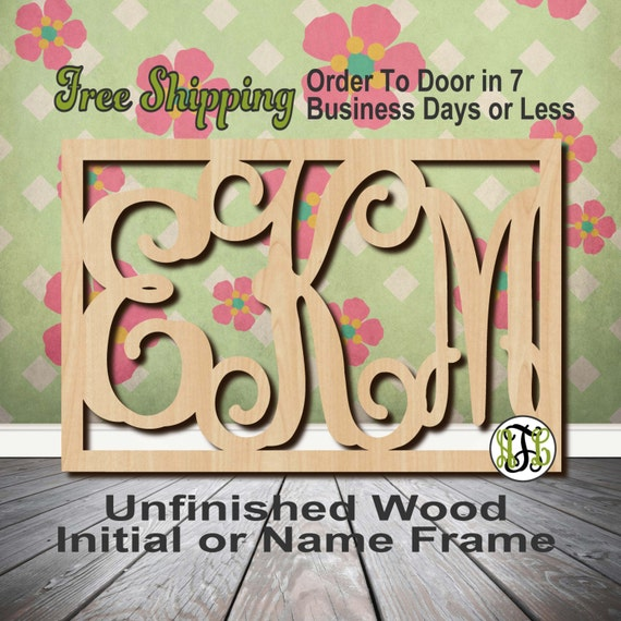 Unfinished Wood Thin Rectangle Frame Monogram, Initial, Name, Custom, laser cut wood cut out, Wedding, Personalized, wooden, Door Hanger