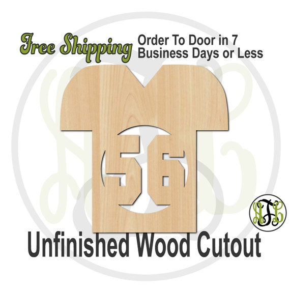 Football Jersey with Number- 60005No- Personalized Cutout, unfinished, wood cutout, wood craft, laser cut, wood cut out, wooden, Door Hanger