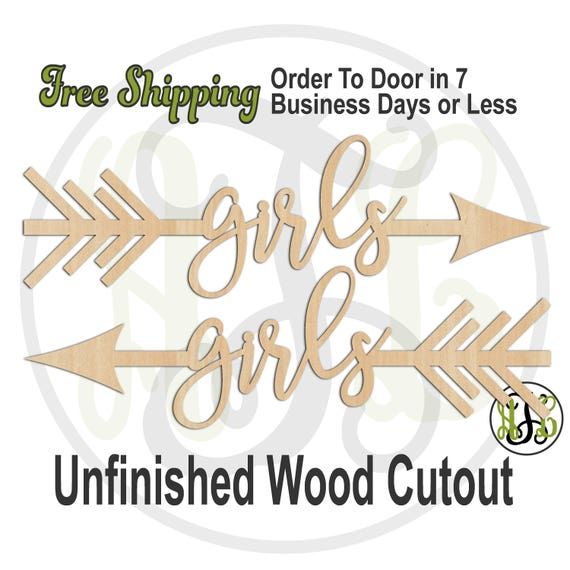 Girls Directional Arrows - 325042-43, Wedding Cutout, unfinished, wood cutout, wood craft, laser cut, direction arrow, tribal, wooden sign