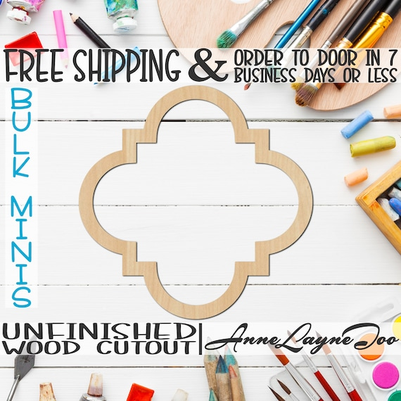 """Quatrefoil Frame, 3"""" to 6"""" Minis, Small Wood Cutout, unfinished, wood cutout, wood craft, laser cut shape, wood cut out, ornament -360005"""